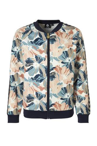 vest met all over bloemenprint donkerblauw/roze