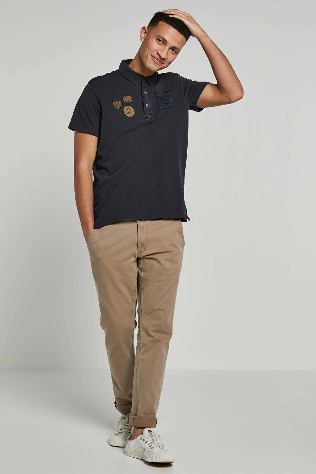 PME Legend polo met Patches donkerblauw, Donkerblauw