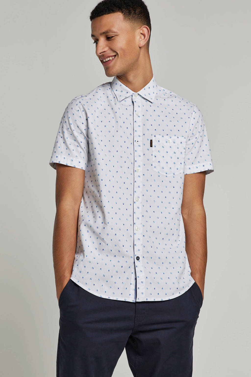 PME Legend overhemd met all over print, Wit
