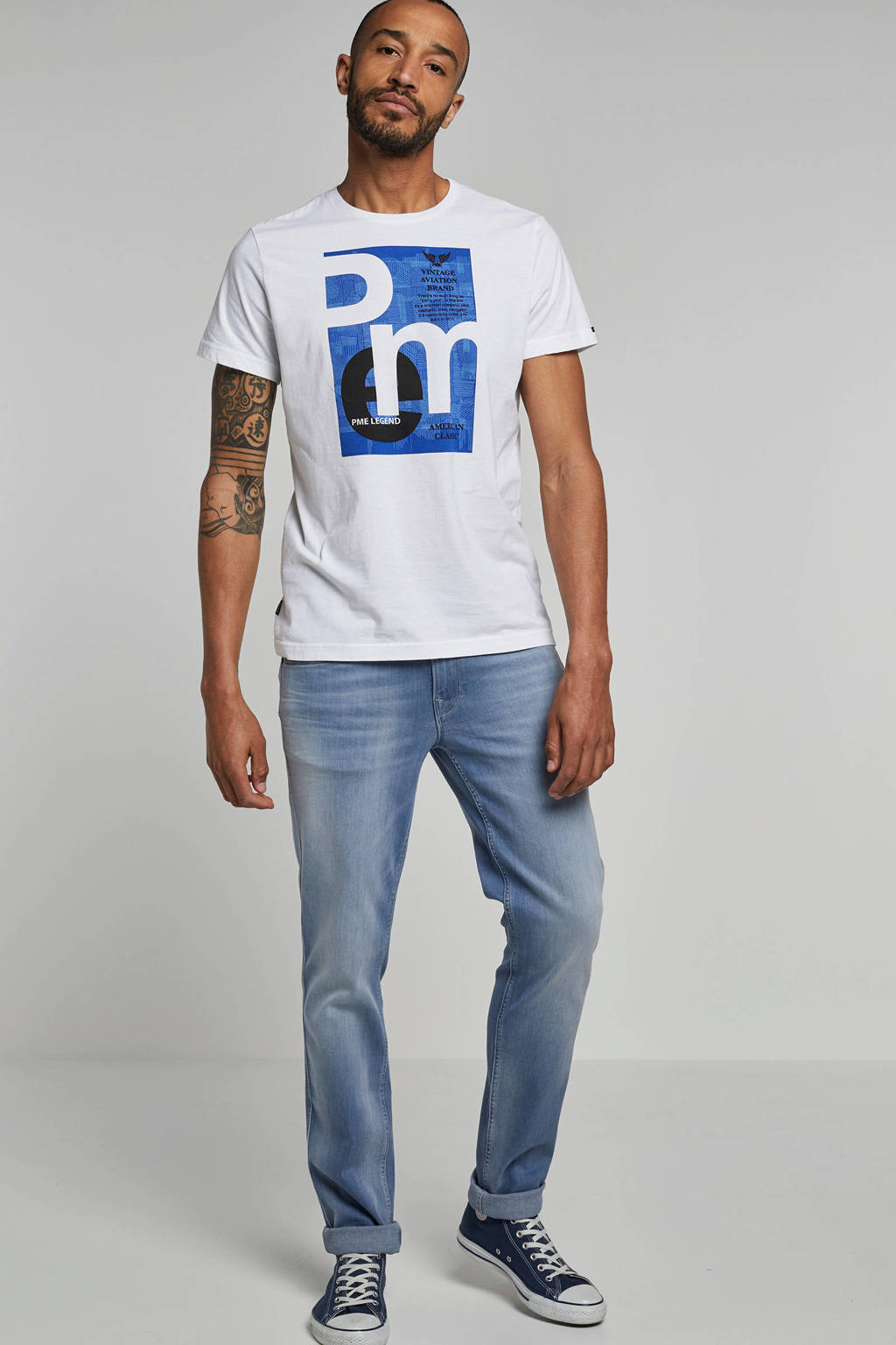 PME Legend T-shirt, Wit/blauw