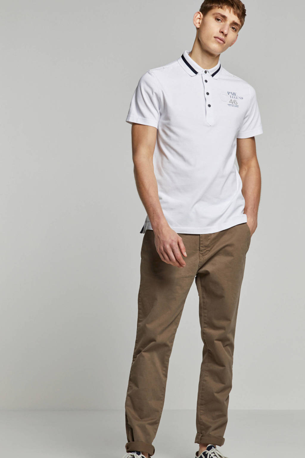 PME Legend regular fit polo wit, Wit