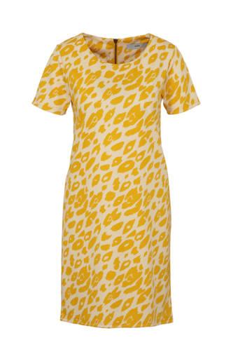 jurk met panterprint geel