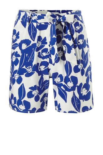gebloemde straight fit high waist short blauw