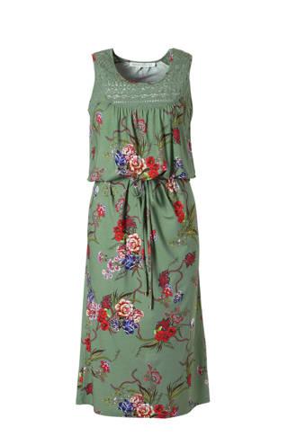 jurk met bloemenprint en strikceintuur