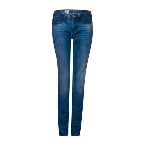 Street One slim fit jeans met zijstreep blauw