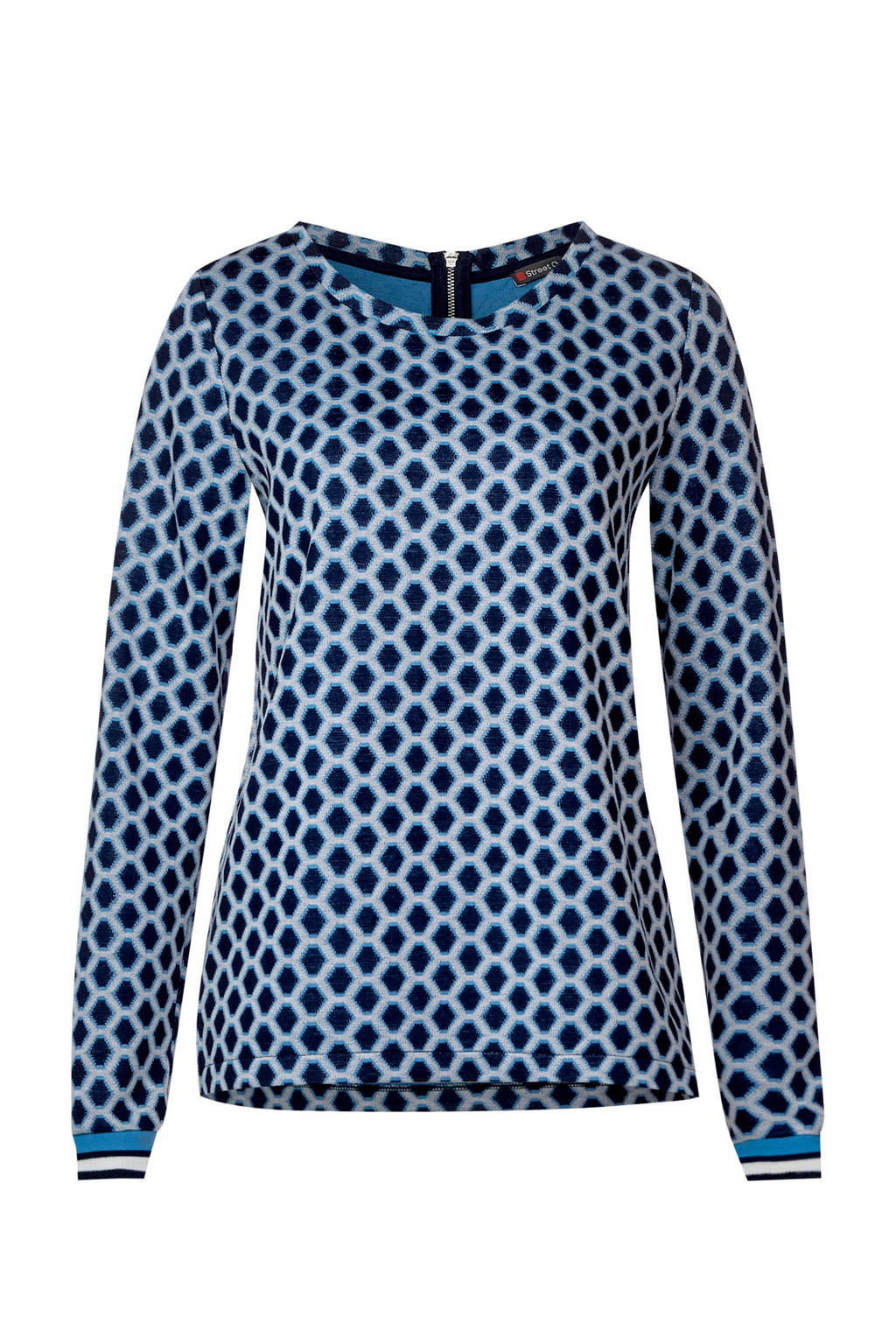 Street One shirt met print Polly, Blauw/wit