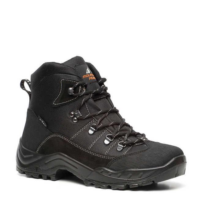 8a065c00be4 Scapino. Mountain Peak leren wandelschoenen zwart/grijs