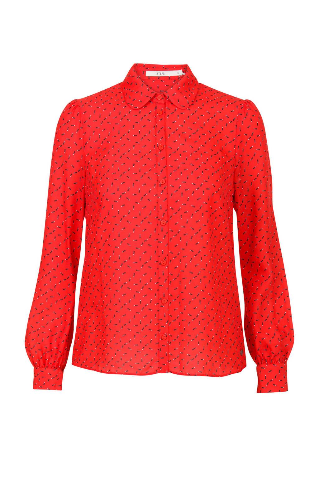 Steps blouse met lipstick dessin rood, Rood/ Zwart/ Ecru