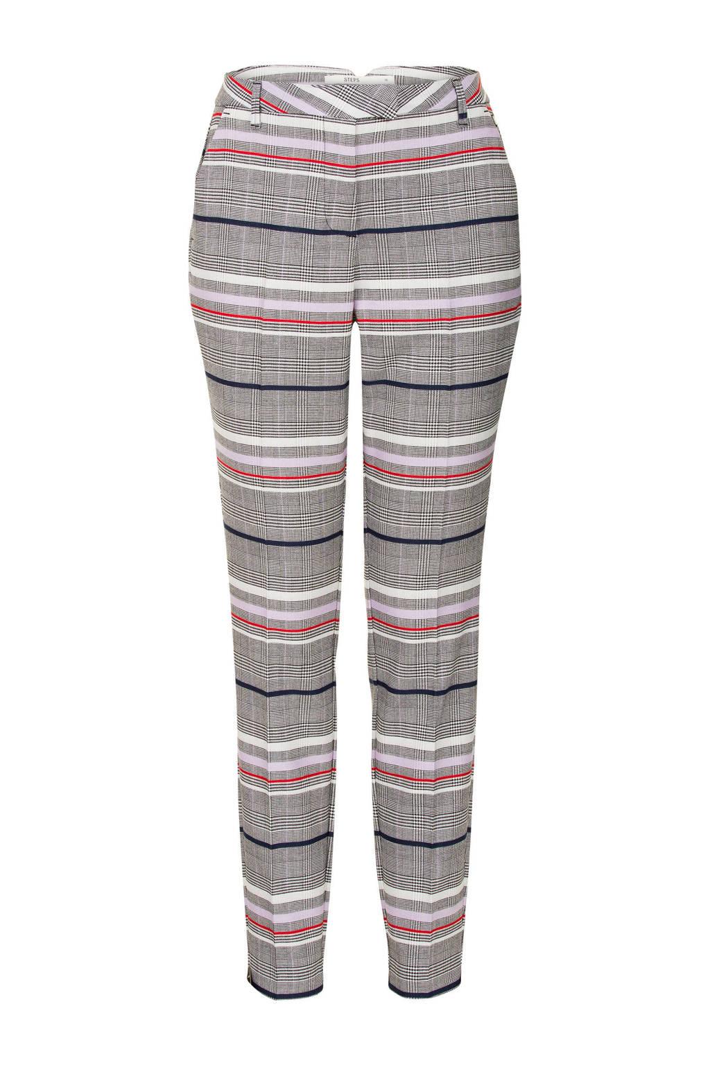 Steps pantalon met pied de poule dessin, Blauw/grijs/rood/wit/paars