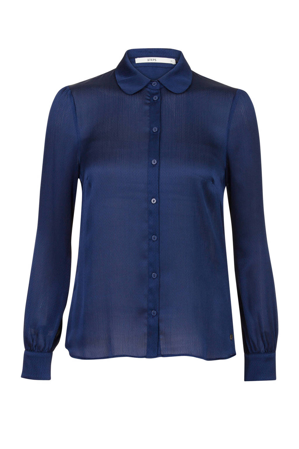 Steps blouse met textuur marine blauw, Marine