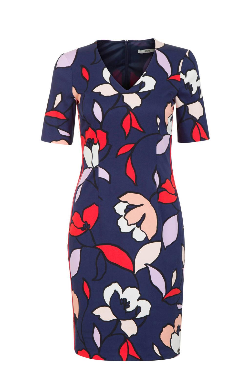 Steps gebloemde jurk, Donkerblauw/rood/paars