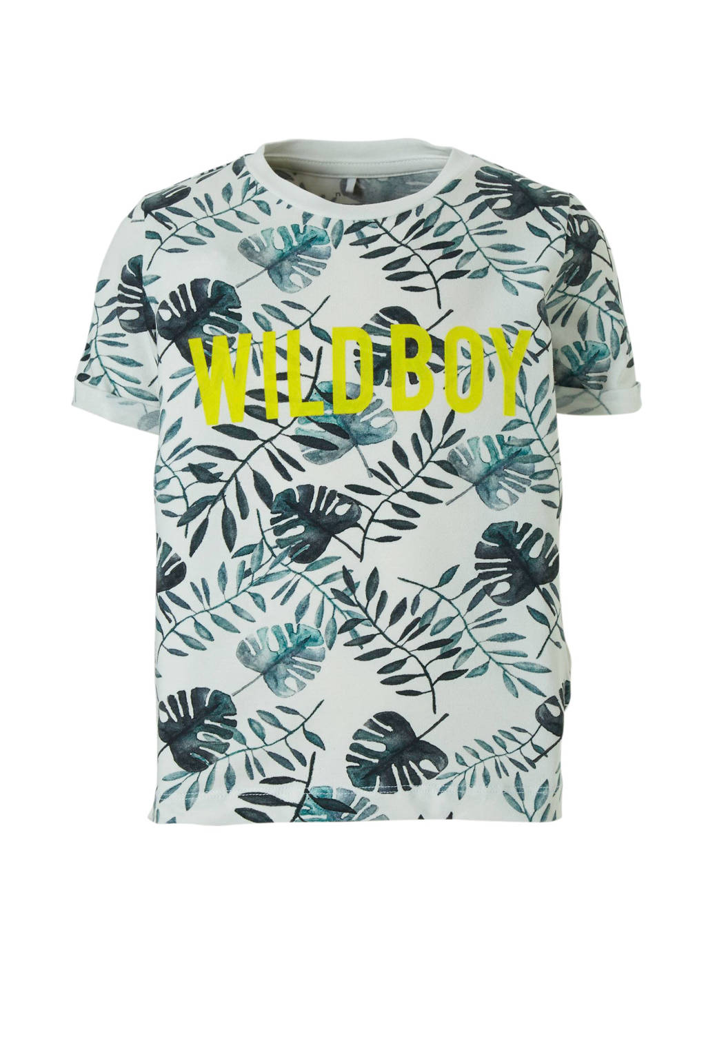 NAME IT T-shirt Facool wit, Wit/ groen