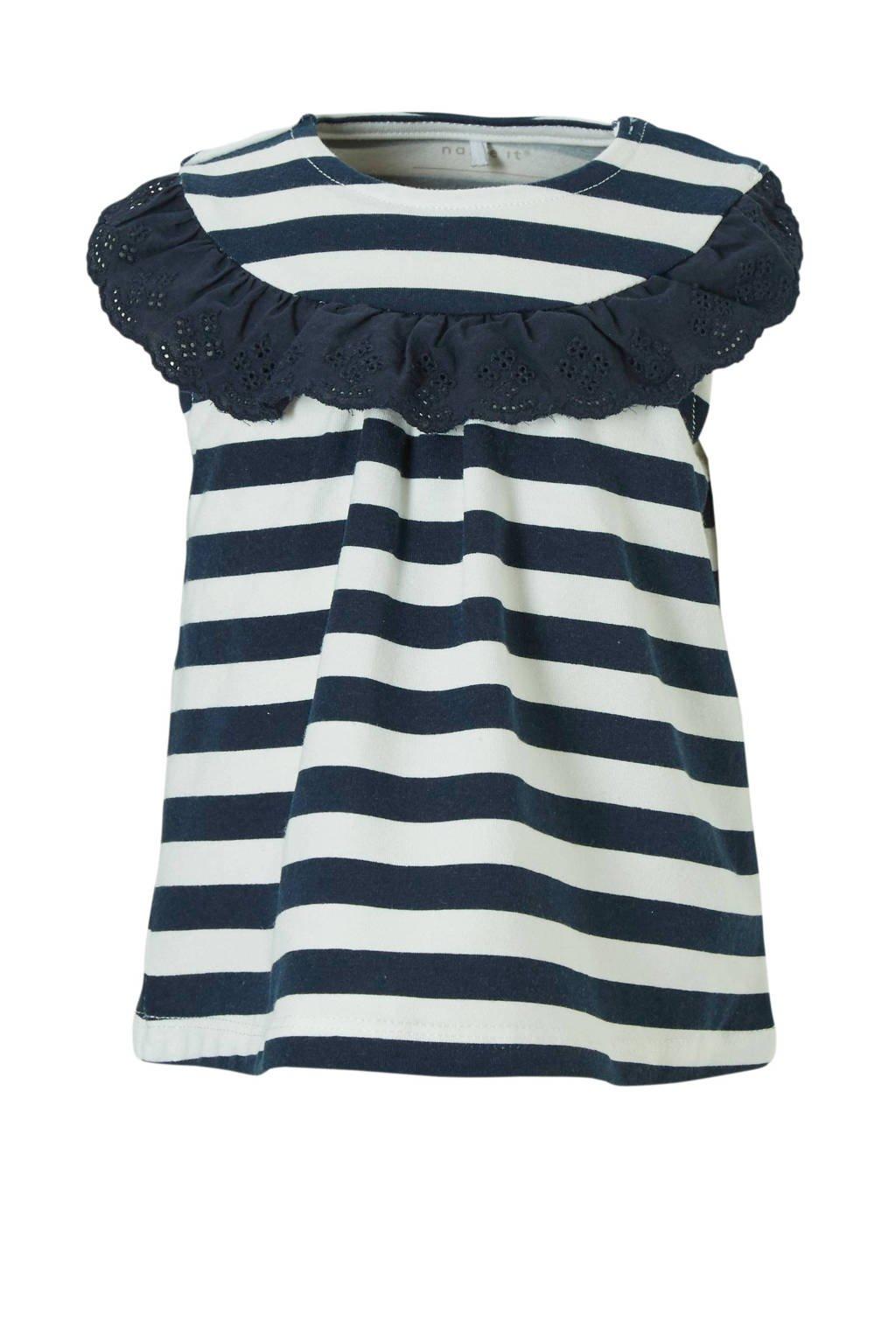 NAME IT newborn gestreepte jurk Faith, Donkerblauw/ wit