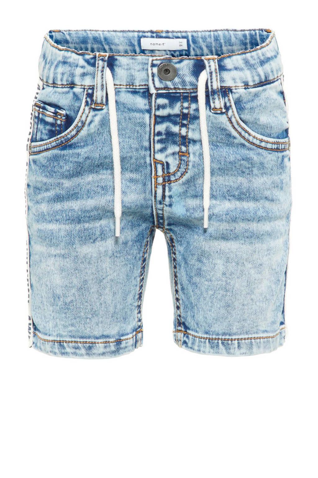 name it slim fit jeans bermuda Sofus met zijstreep, Light stonewashed