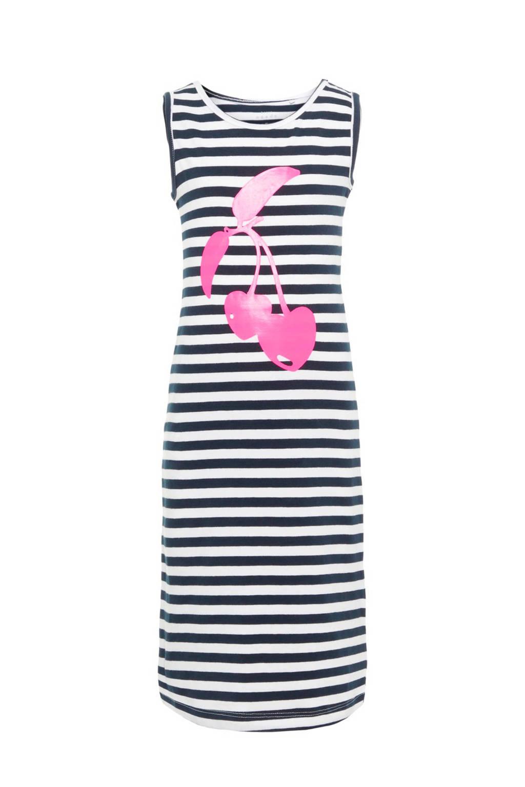 NAME IT gestreepte maxi jurk Vippa met kers blauw, Donkerblauw/wit/roze