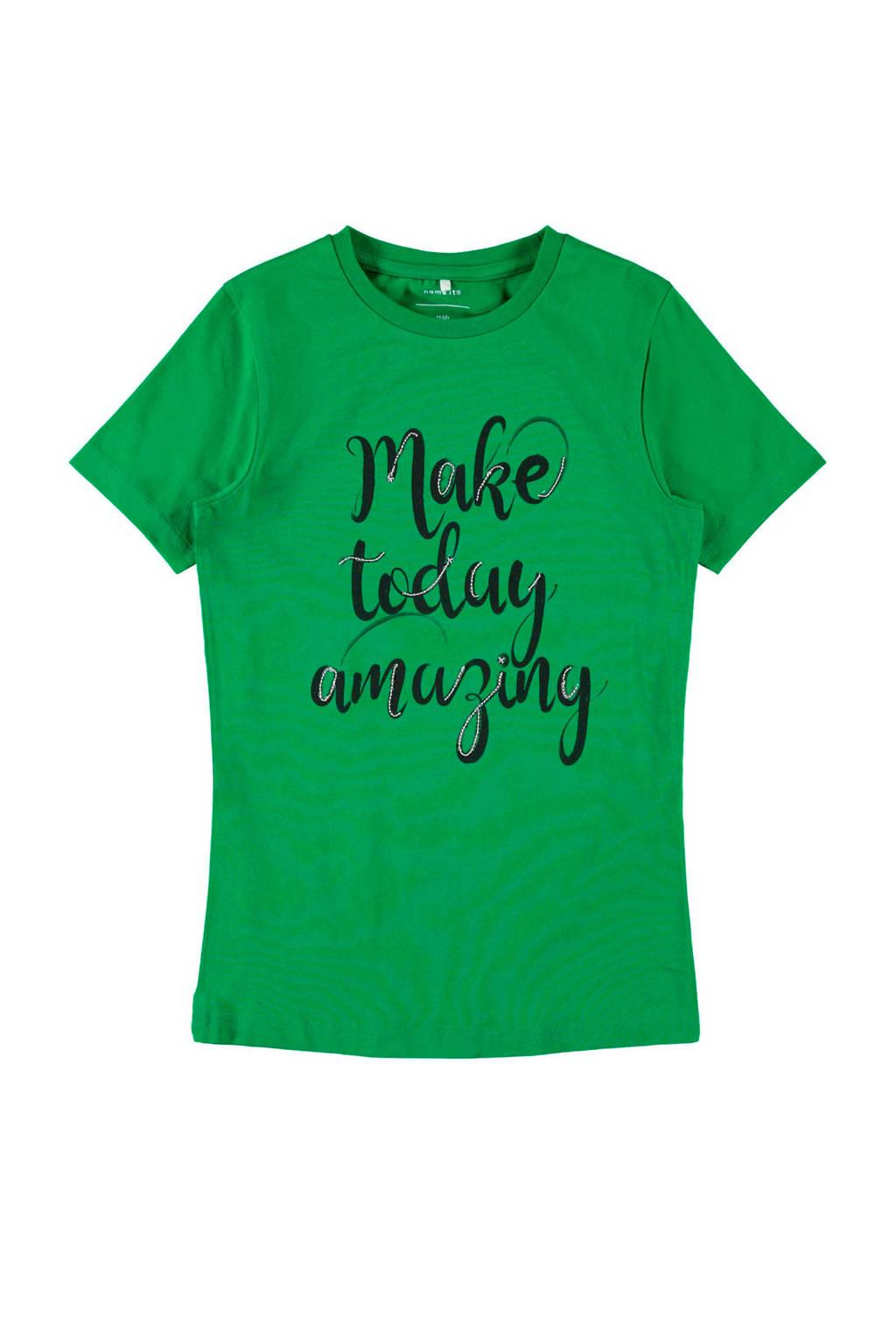 name it T-shirt Felicia met tekst groen, Groen/zwart