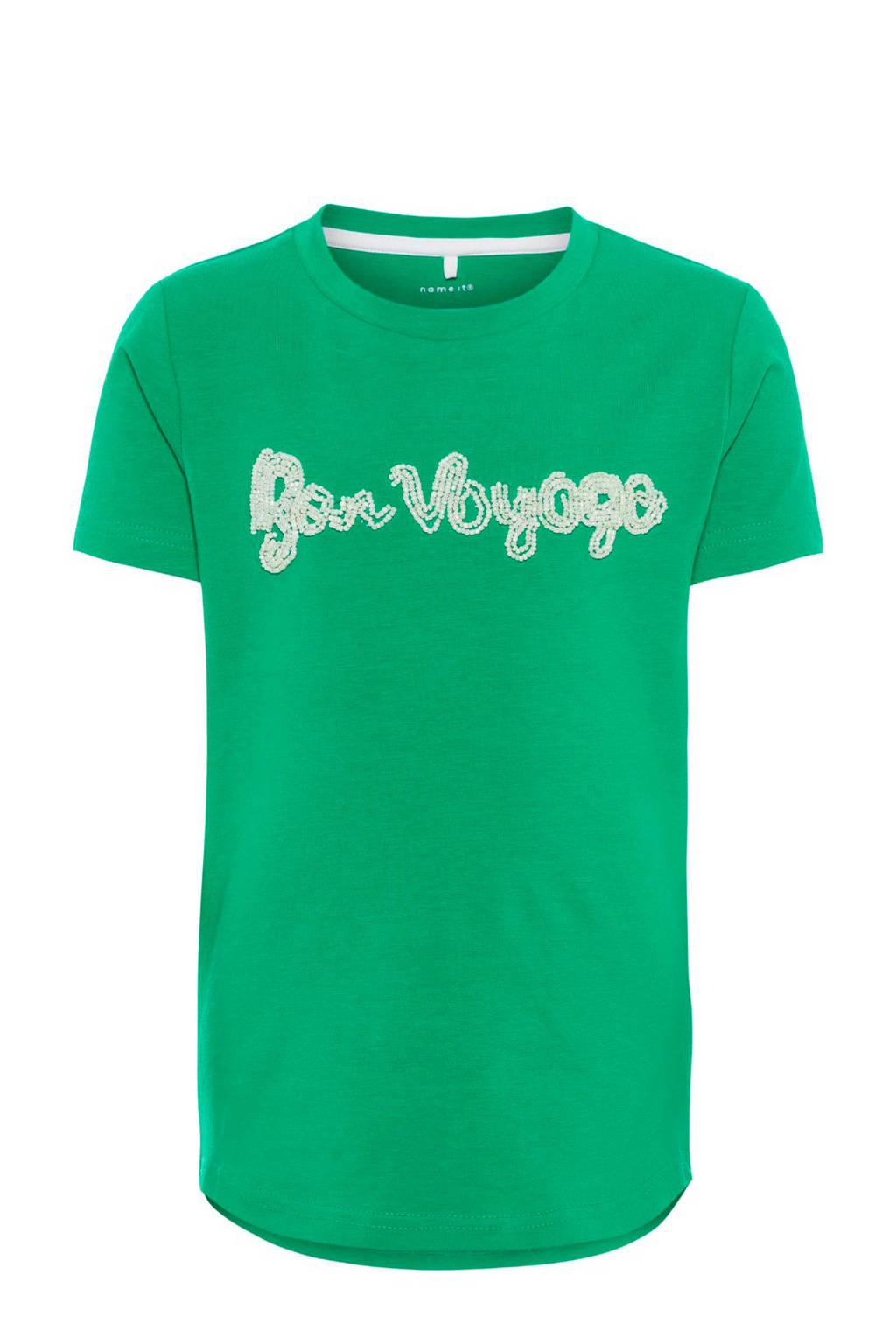 name it T-shirt Frey met kraaltjes groen, Groen