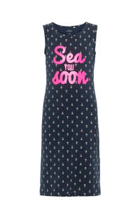 NAME IT maxi jurk met all over print donkerblauw/ roze, Donkerblauw/ roze