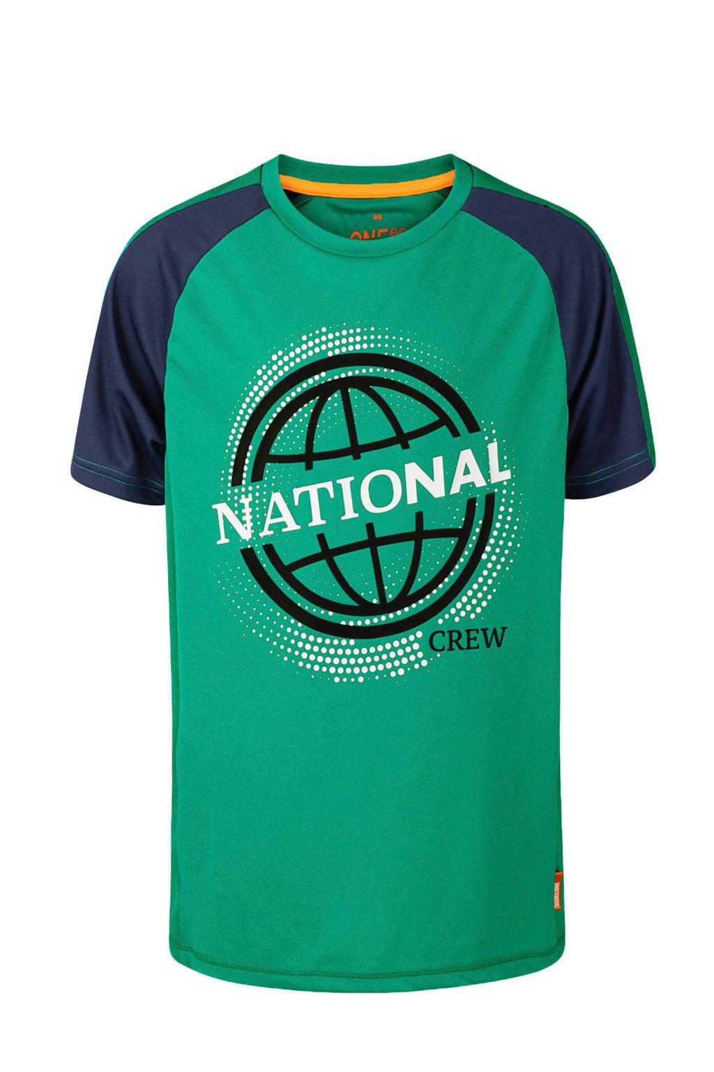 WE Fashion T-shirt met printopdruk zeegroen/donkerblauw, Zeegroen/donkerblauw