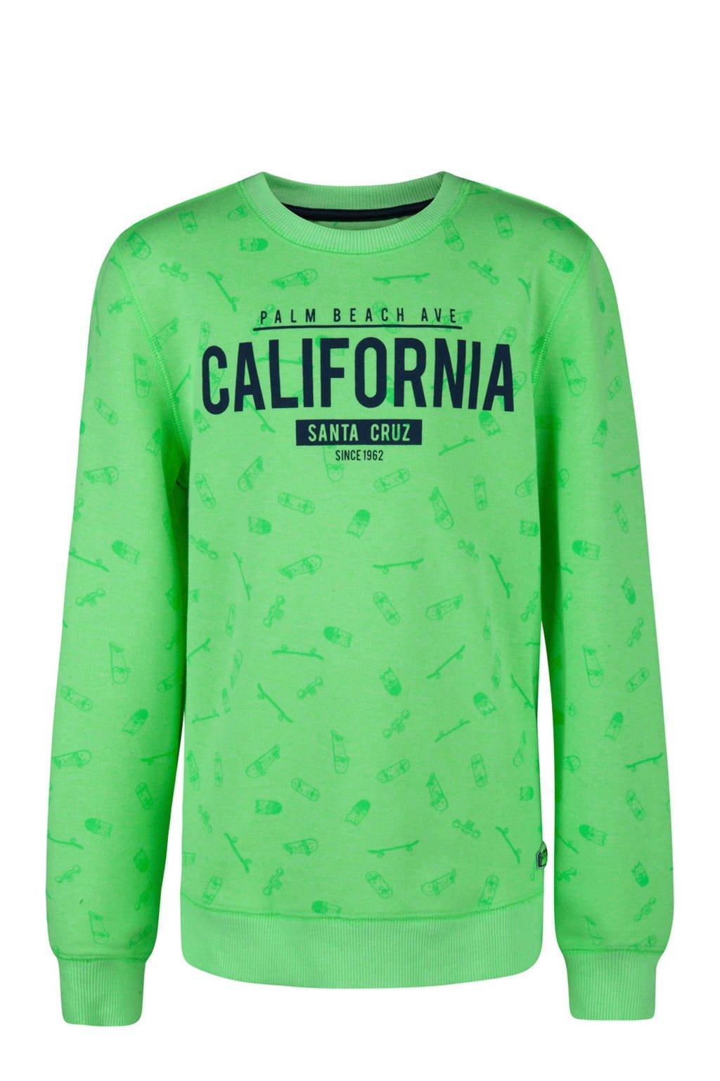 WE Fashion sweater met skateboards en tekst groen, Groen