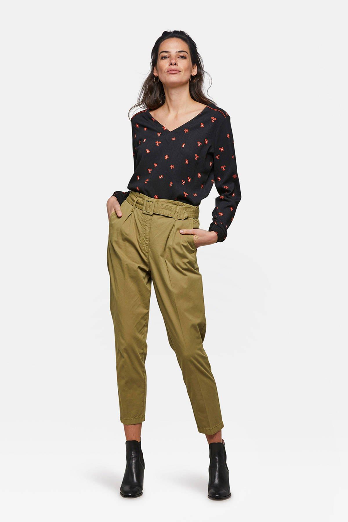 high WE olijfgroen broek Fashion waist tapered fit AqWgx4SCw