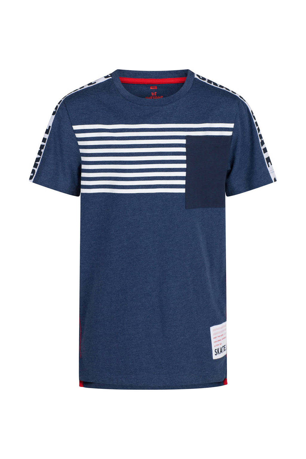 WE Fashion T-shirt met printopdruk en bies blauw, Donkerblauw