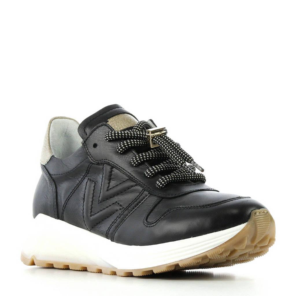 Via Vai  leren sneakers zwart, Zwart