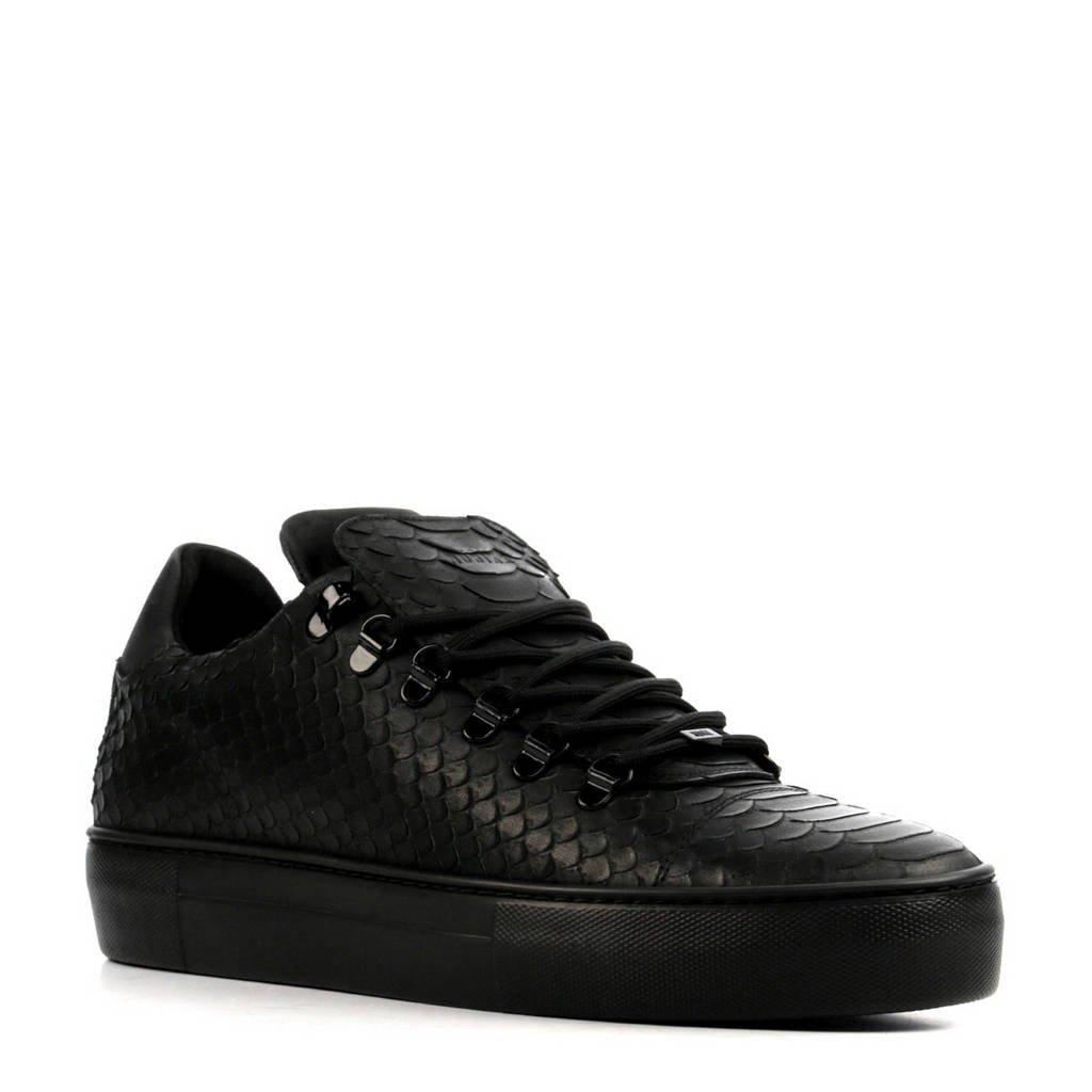 Nubikk   Jagger Python leren sneakers zwart, Zwart