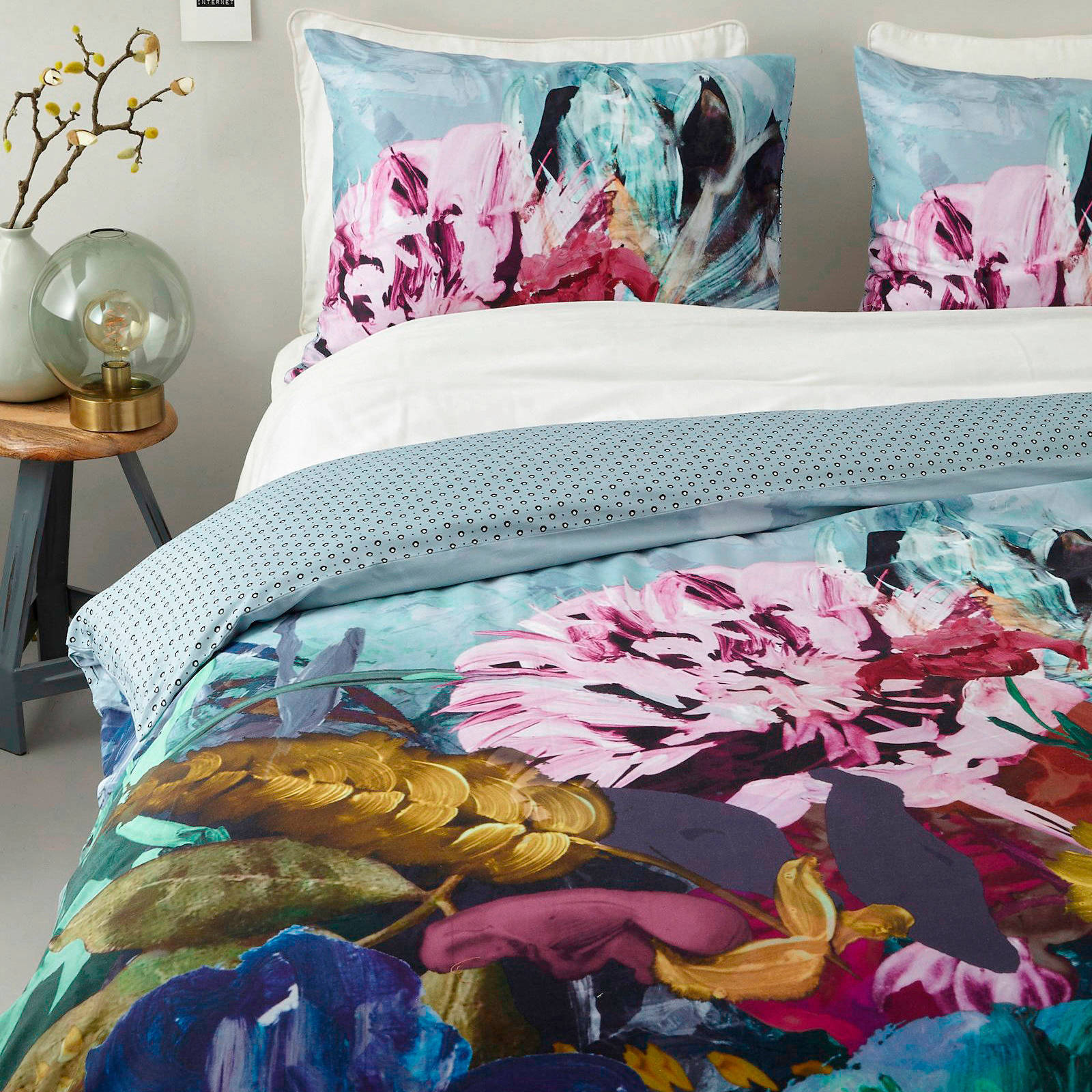essenza katoensatijnen dekbedovertrek lits jumeaux blauw