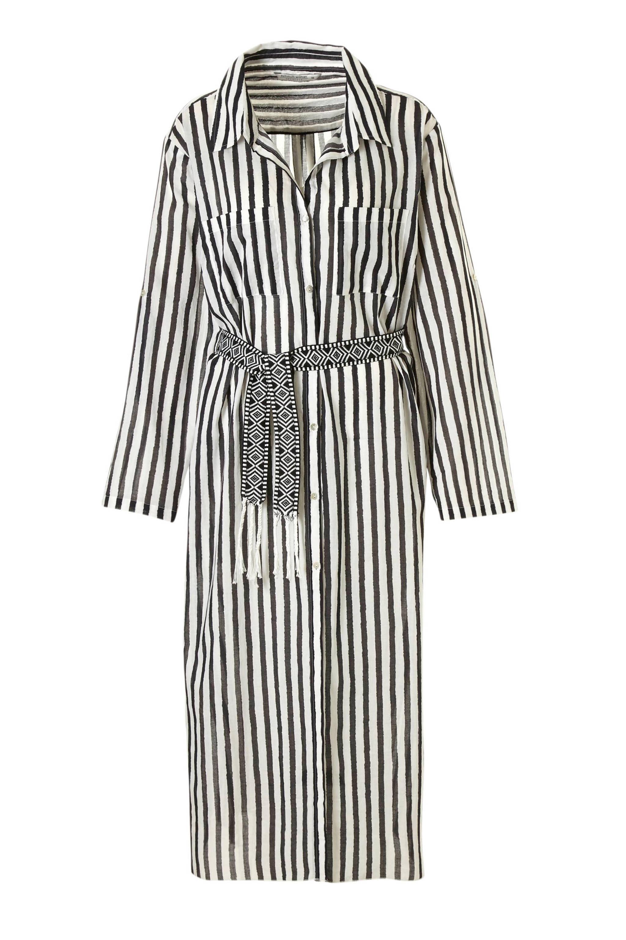 bfc037449427c9 Summum Woman maxi jurk met strepen en bindceintuur