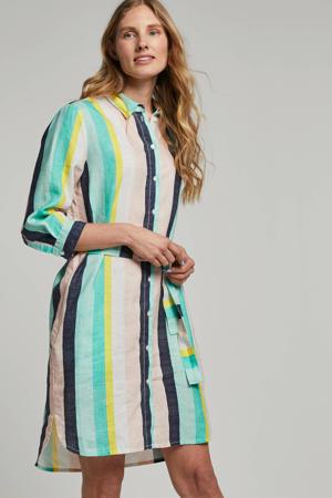 gestreepte linnen blousejurk multi
