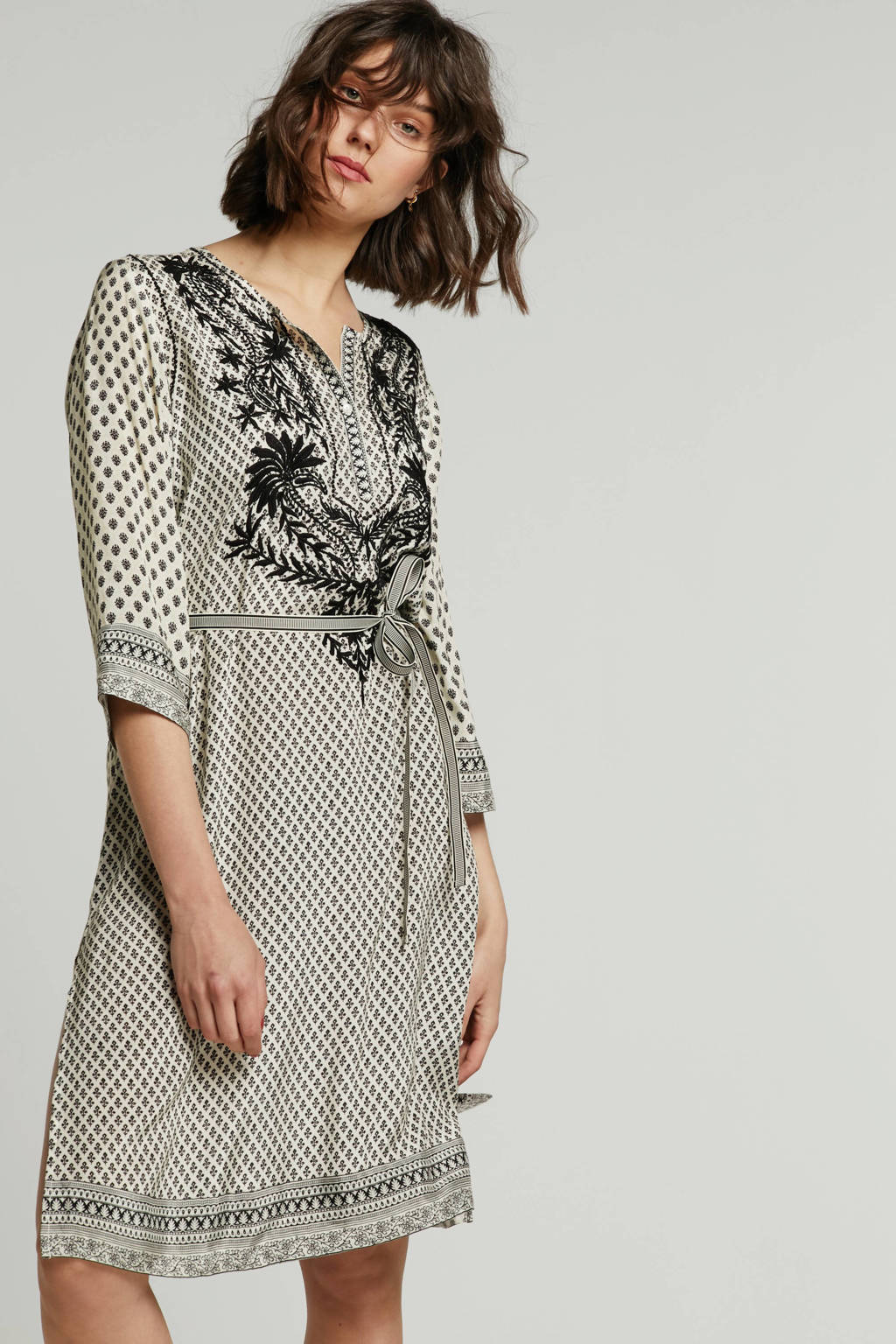 Summum Woman jurk met all over print ecru, Ecru/zwart