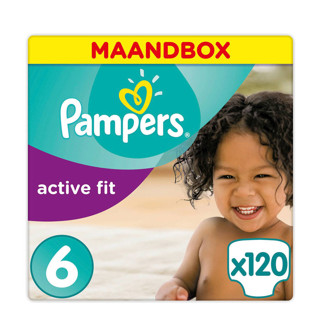 Pampers Active Fit maandbox maat 6 (15+ kg) 120 luiers