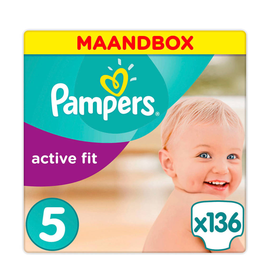 Pampers Active Fit maandbox maat 5 (11-23 kg) 136 luiers