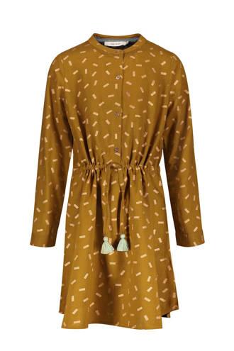 jurk met allover dessin mosterdgeel
