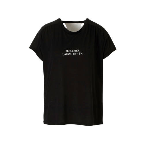 JACQUELINE DE YONG T-shirt met tekstopdruk zwart kopen