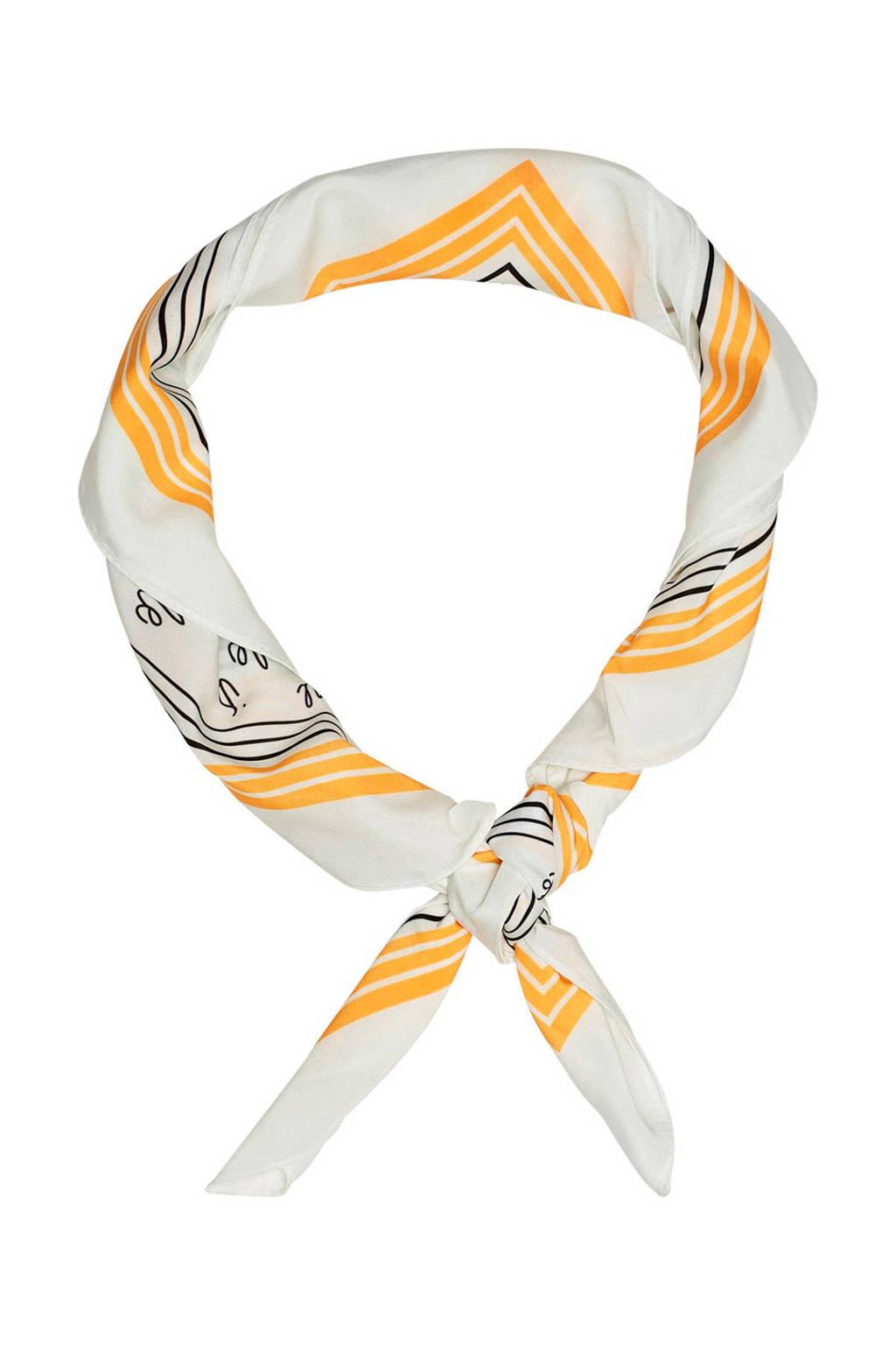 ONLY sjaal geel, Geel/wit