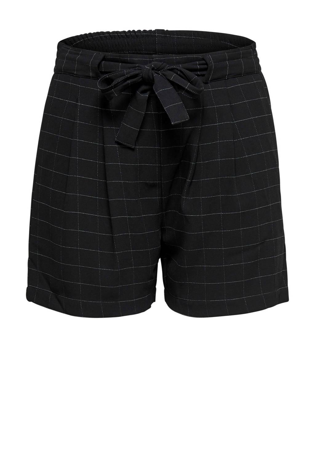 JACQUELINE DE YONG korte broek met ruiten, Zwart/wit