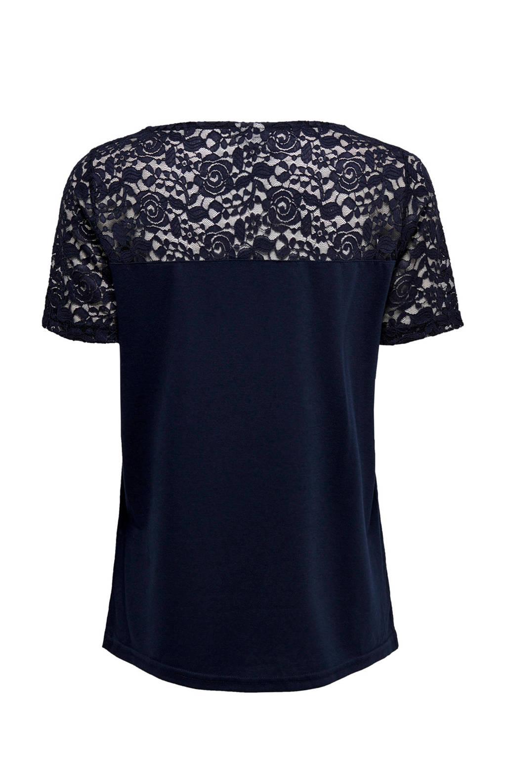 Donkerblauw De shirt Jacqueline Yongt Met Kant wXqn64Ox