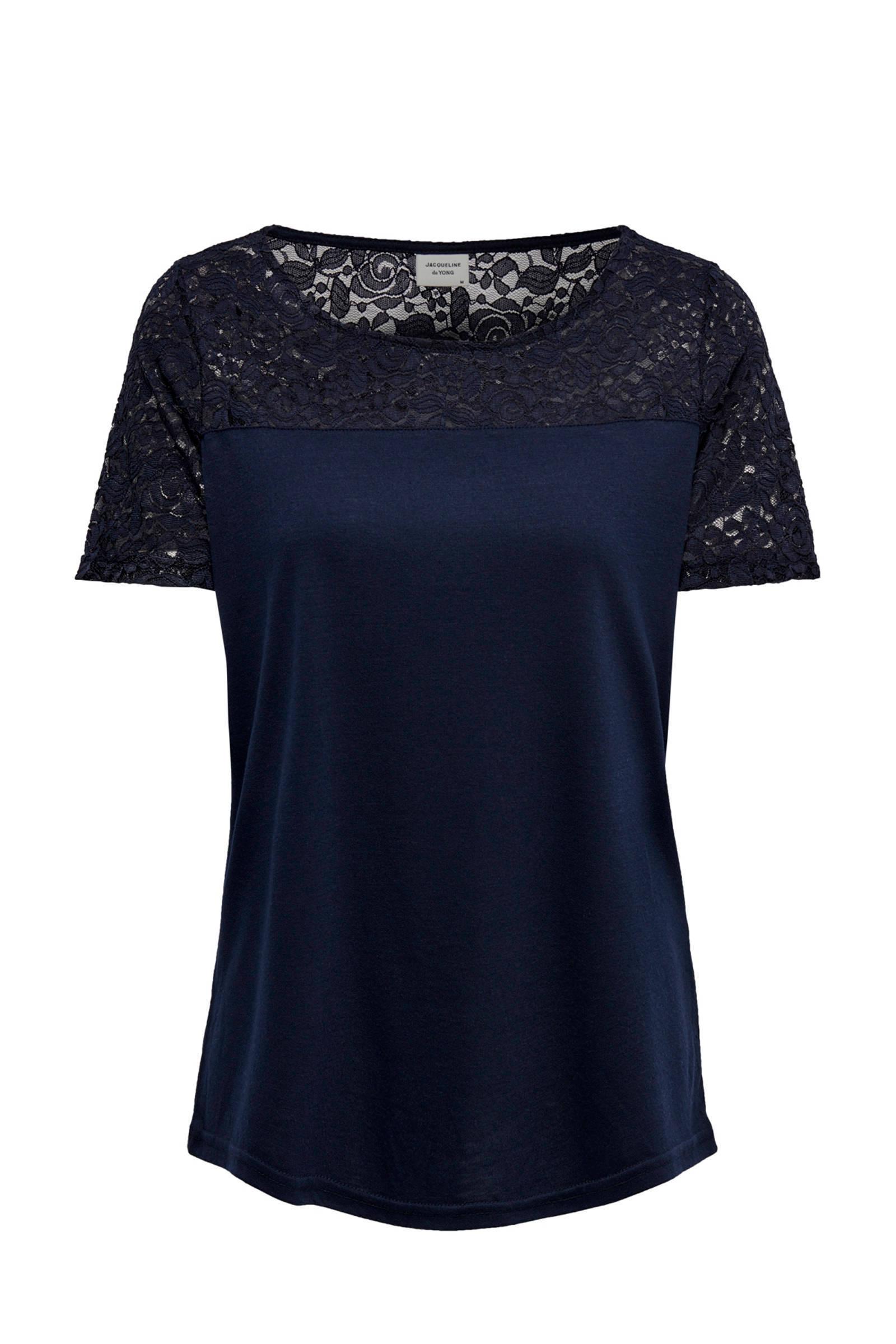 0916d72de16 T-shirt met kant donkerblauw