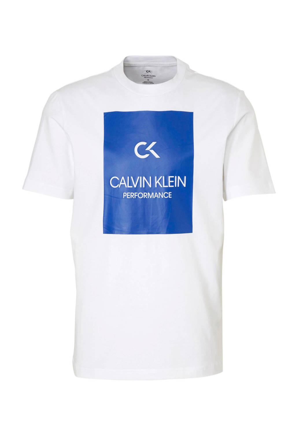 Calvin Klein   sport T-shirt met printopdruk wit/kobaltblauw, Wit/kobaltblauw