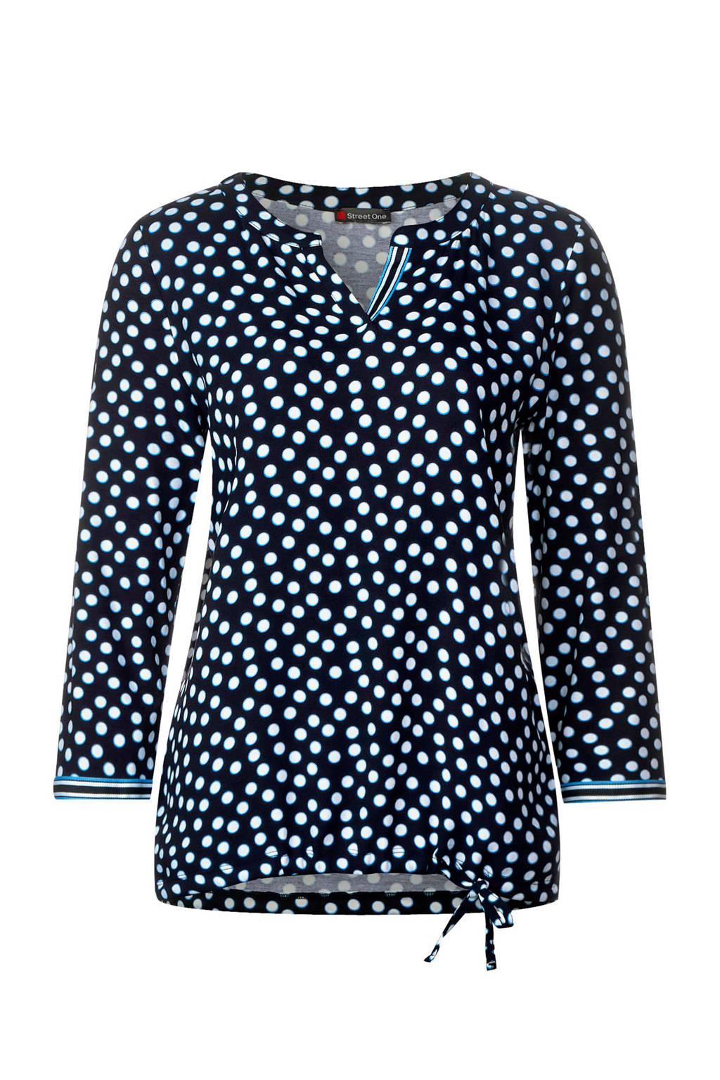 Street One Shirt met allover-print, Donkerblauw/wit