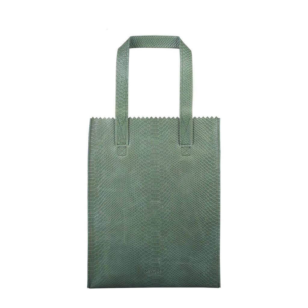 MYOMY  MY PAPER BAG long handle zip leren tas, Groen