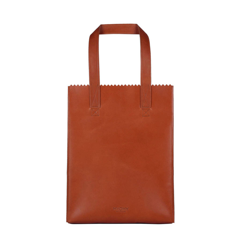 MYOMY   MY PAPER BAG long handle zip leren tas, Cognac