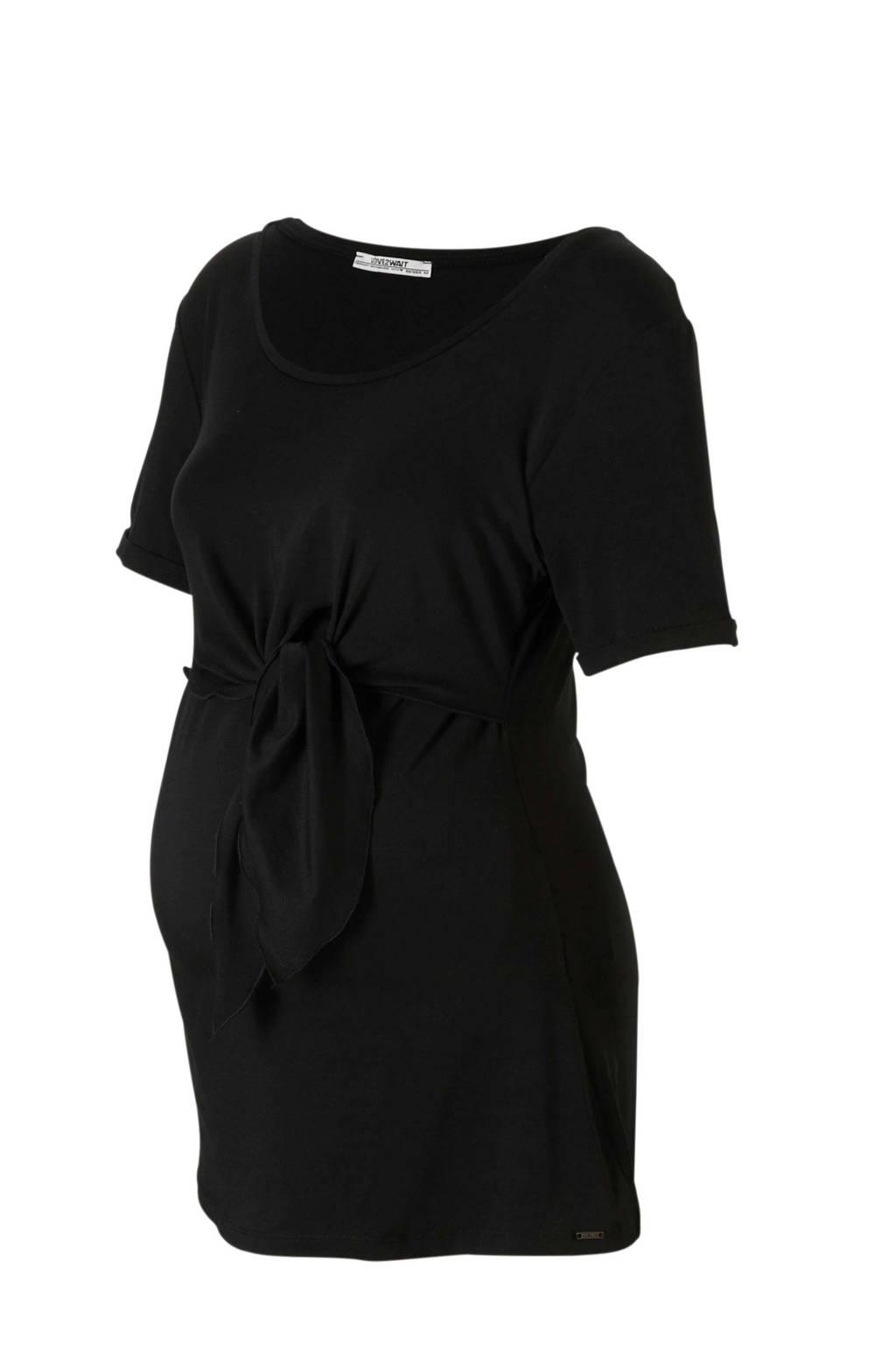 LOVE2WAIT zwangerschap + voedings T-shirt met knoop zwart, Zwart