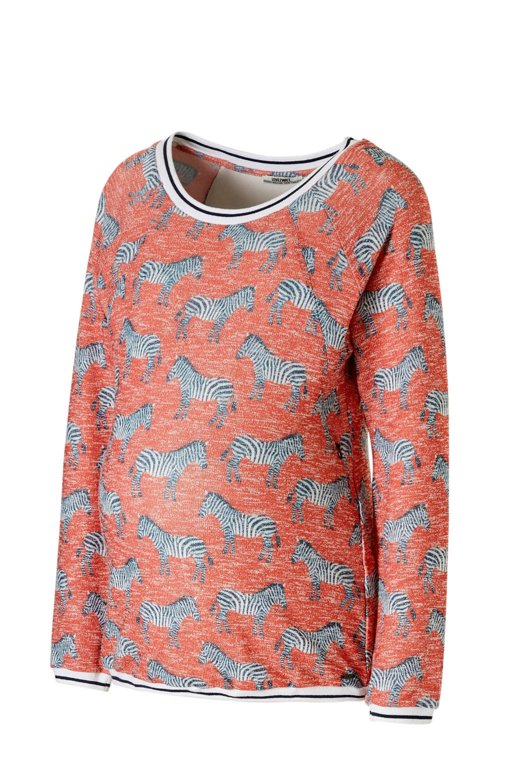 LOVE2WAIT zwangerschap + voedingssweater met zebra's rood, Rood