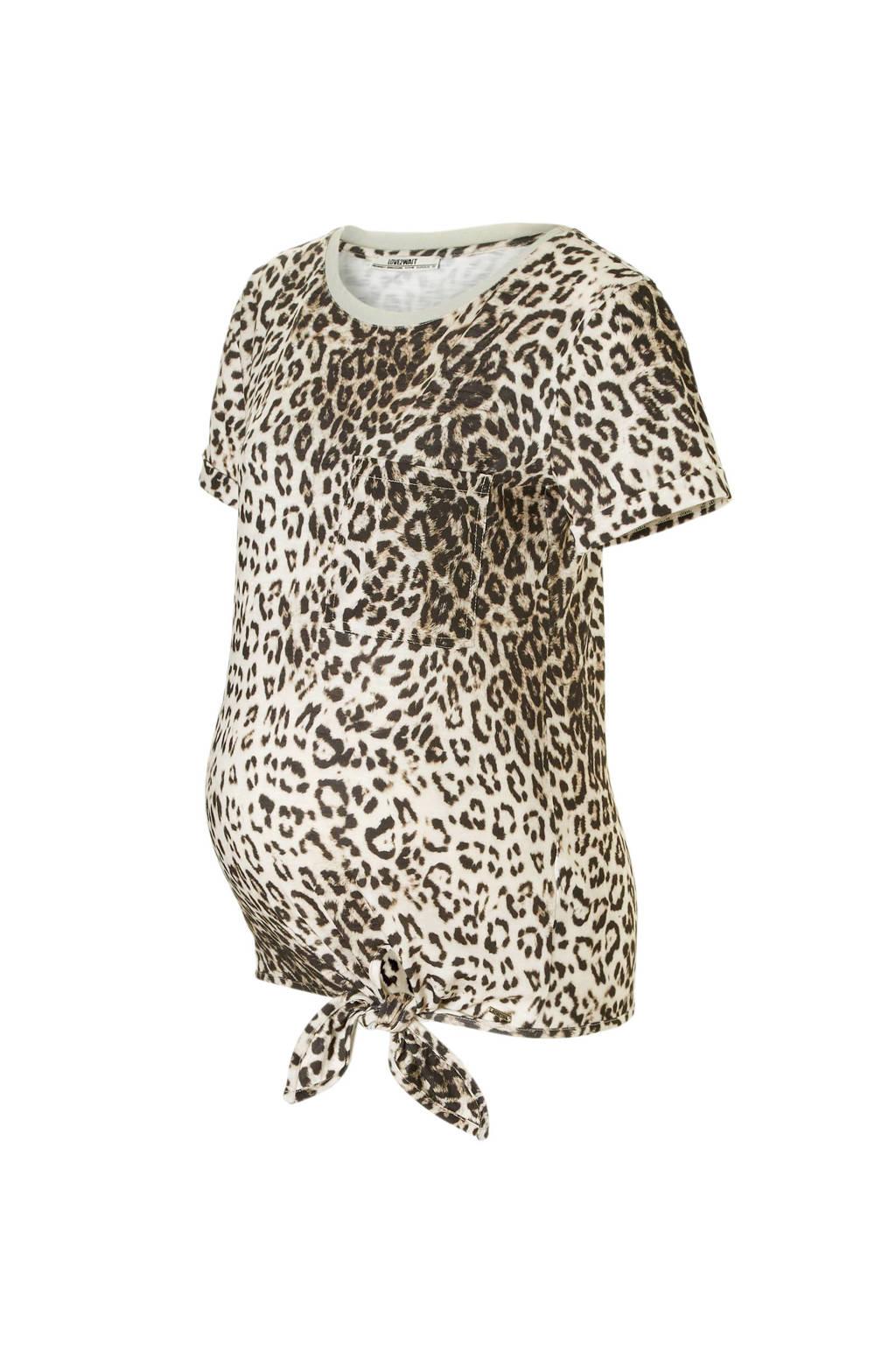 LOVE2WAIT zwangerschaps T-shirt met panterprint zand, Zand