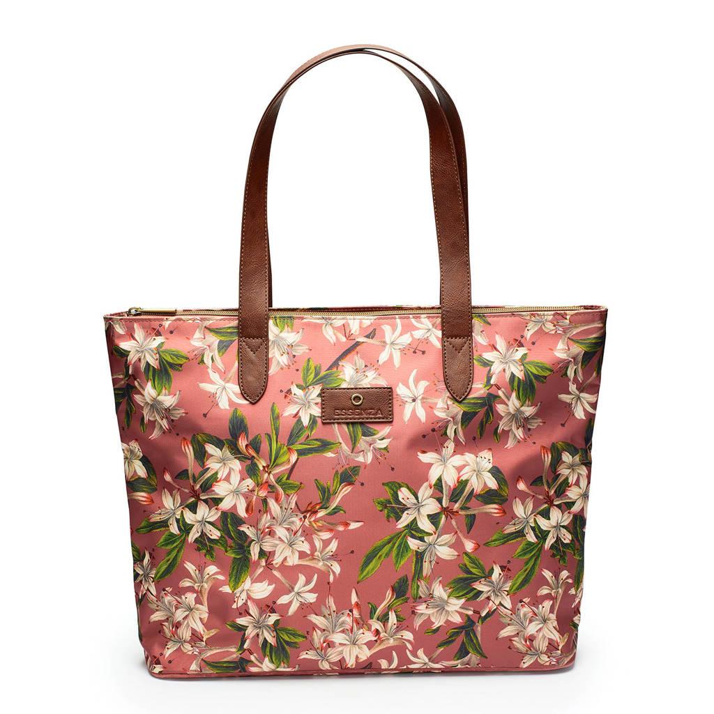 Essenza   gebloemde shopper roze, Roze