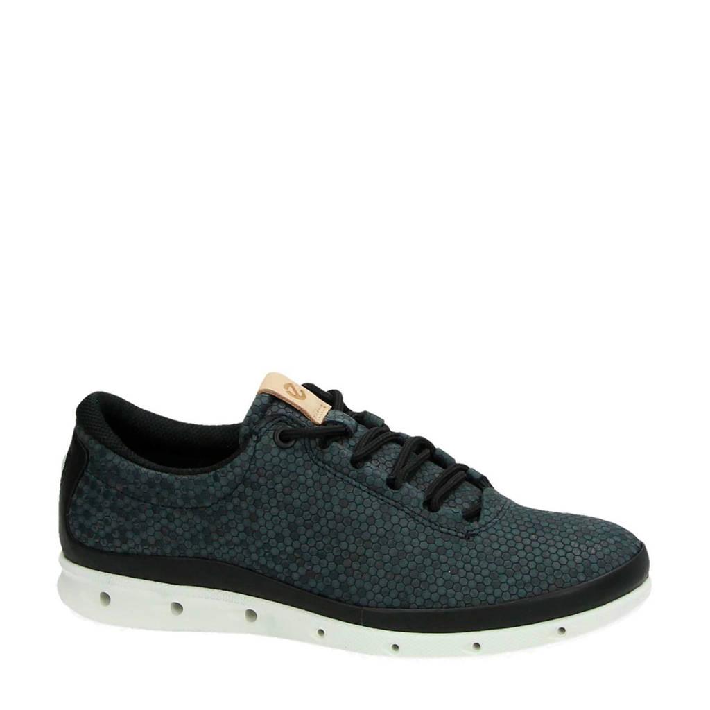 Ecco  Cool leren sneakers zwart/groen, Zwart/groen