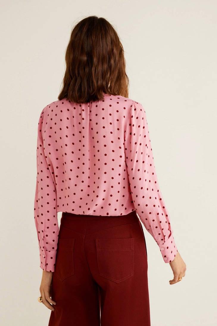 blouse Mango stippen roze met dessin Oq0rwnqd